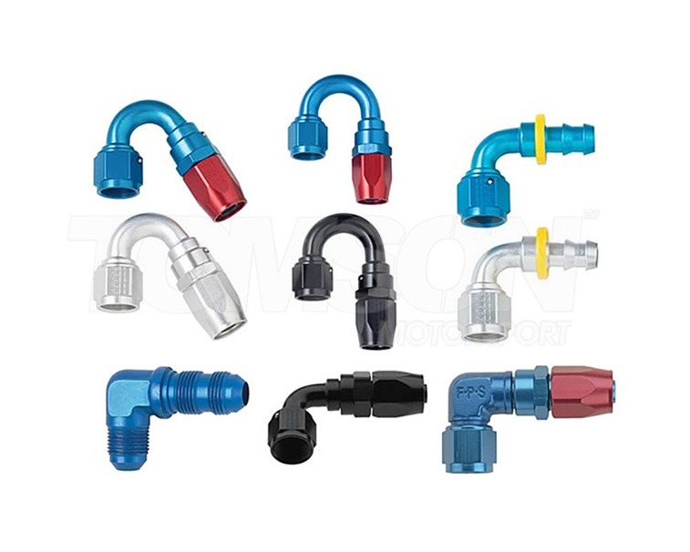Fragola 104608 3000 series AN-8 45° forged low profile hose end (blue/red)