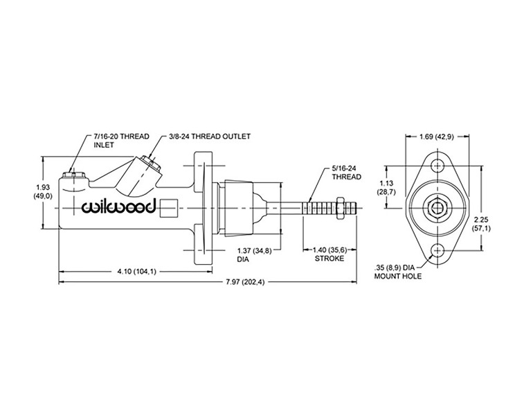 Wilwood 260-6087 compact master cylinder 0.625""